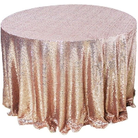Rose Gold Sequin Round Tablecloth