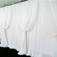 White Backdrop with Glamorous Swags Curtains- Decorating Service