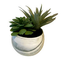 Faux Succulents - Green Marble Pattern Base - Small