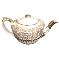 Vintage Cream and Gold Tea Pot
