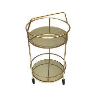 Petite Gold Bar Cart with Handle