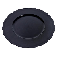 The Head Table Collection: Black Wavy Edge Charger Plates - Plastic