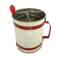 Vintage Red & Cream Metal Sifter