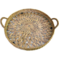 Large Wicker and Glass Tray