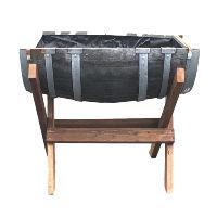 Half Wine Barrel on Cradle Stand