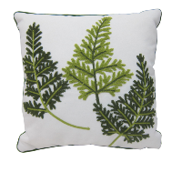 Embroidered Fern Pillows