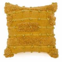 Mustard Yellow Pillow with Loop Motifs