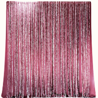 Berry Velvet Curtains and Crystal Strands Backdrop Service