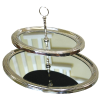 Oval Tiered Stainless Steel Serving Stand