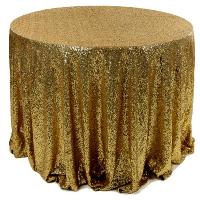 Dark Gold Round Sequin Tablecloth