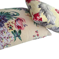 Vintage Barkcloth Floral Pillows