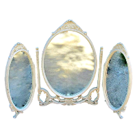 Vintage Cream 3 Piece Standing Oval Mirrors