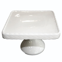 Square White Footed Cake Stand