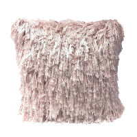 Pink with Silver Threads Shag Pillows