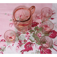 Pink Depression Glass Pitcher and 8 Glasses