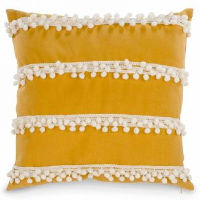 Mustard Yellow Pillows with Pom Poms