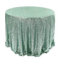 Mint Sequin Round Tablecloth