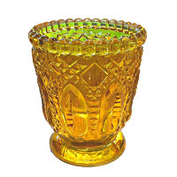 Yellow Fancy Glass Votive Holders