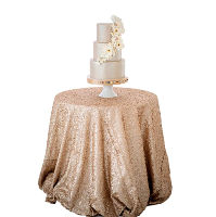 Nude Champagne Sequin Round Tablecloths
