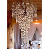 Large Silver & Diamond Hanging Chandelier + Installation