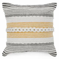 Grey, Yellow, Cream, Black Stripe Pillows