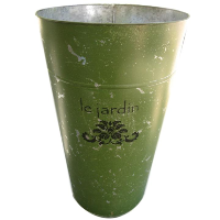 Large Green Tin Flower Container