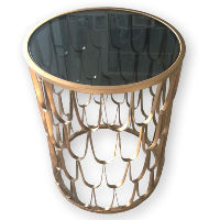 Smokey Glass Gold Accent Table