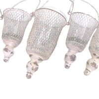 Cream/Pink Rustic Hanging Lanterns - Set of 6