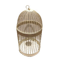 Tall Cream Birdcage with Opening Lid