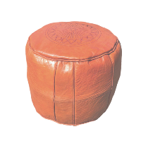 Orange Leather Pouff