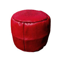 Red Leather Pouff