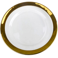 Clear Charger Plates with Wide Gold Band