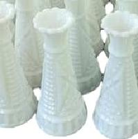 Vintage Short Single Flower Milk Glass Vases