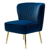 Blue Velvet Chair with Gold Legs