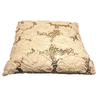 Cream and Gold Sequin Pillow