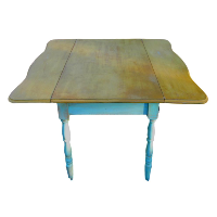 Drop Leaf Table with Blue Legs
