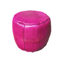 Pink Leather Pouff