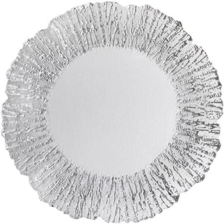 """The Head Table Collection: Silver """"Romance"""" Glass Charger Plates"""