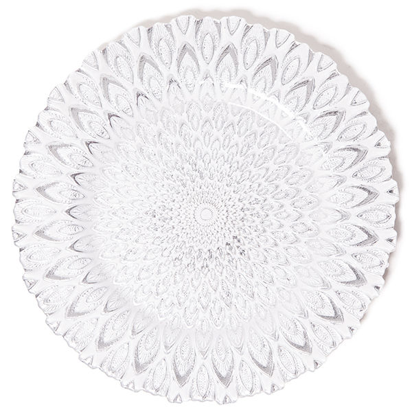 """The Head Table Collection: Silver Clear Glass """"Peacock"""" Charger Plates"""