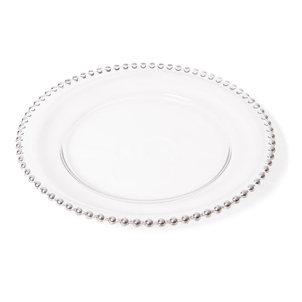 The Head Table Collection: Silver Beaded Edge Glass Charger Plates
