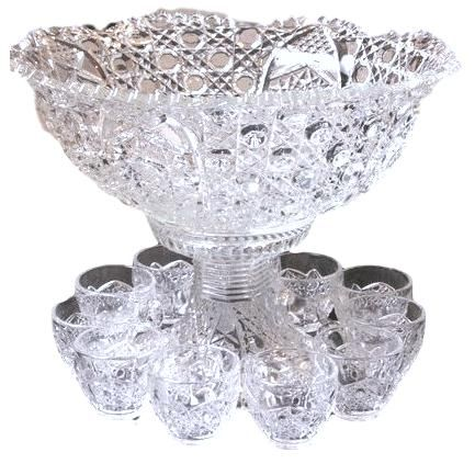 Large Crystal Punch Bowl with Cups