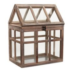 Wood House with Opening Lid