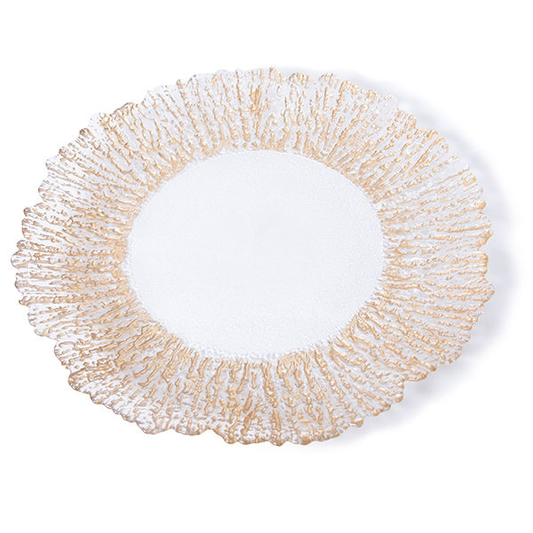 """The Head Table Collection: Gold """"Romance"""" Glass Charger Plates"""
