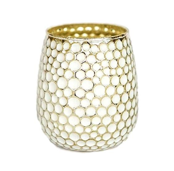 Medium White & Gold Dimpled Vase