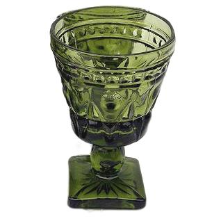 Vintage Green Goblets - Mixed Patterns