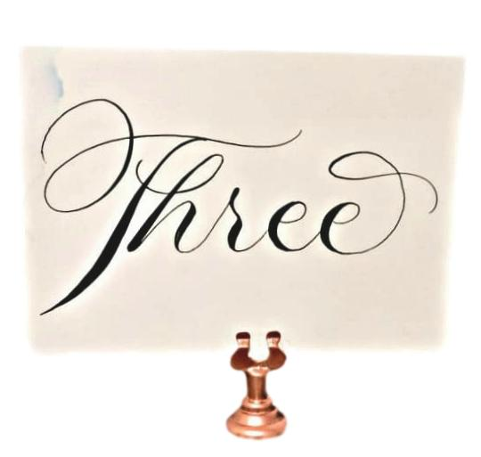 """Rose Gold """"Harp"""" Table Number Holders"""