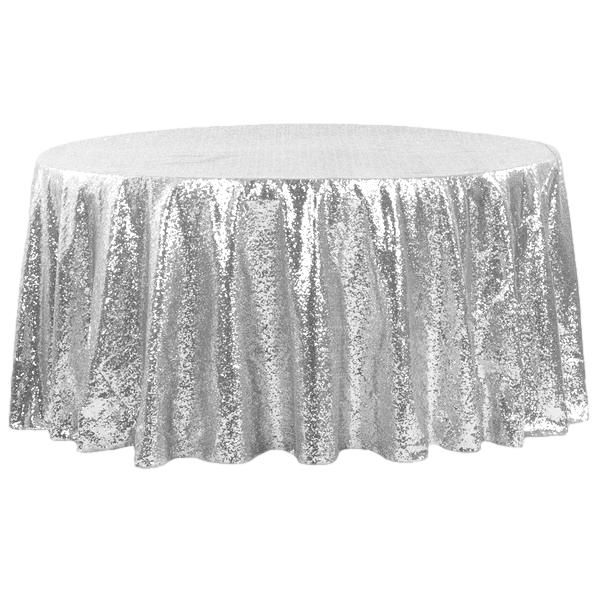 Silver Sequin Round Tablecloths
