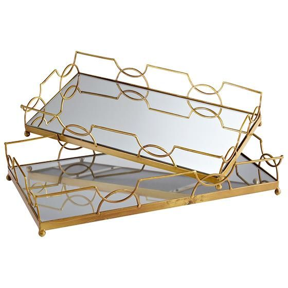 Gold Mirrored Trays