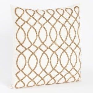 Maris - Gold Ivory Beaded Pillow