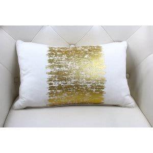Alyssa - Gold White Oblong Pillow